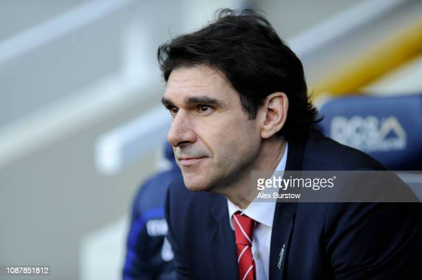 Aitor Karanka Manager of Nottingham Forest looks on prior to the Sky Bet Championship match between Millwall and Nottingham Forest at The Den on...