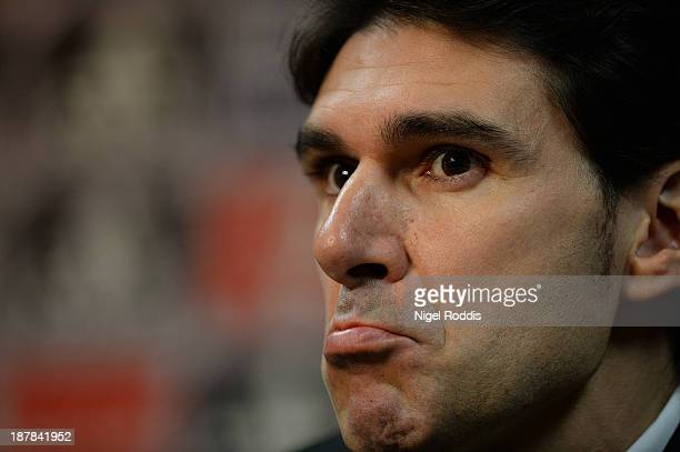 Aitor Karanka speaks to the media as he is officially unveiled as the new manager of Middlesbrough Football Club during a press conference at...
