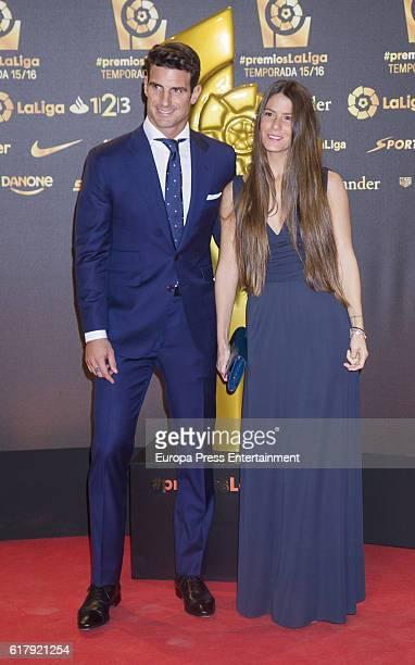 Aitor Ocio and Covi Riva attend the LFP Soccer Awards Gala 2016 at Palacio de Congresos on October 24 2016 in Valencia Spain
