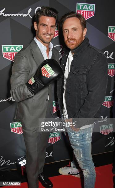 Aitor Ocio and David Guetta attend the launch of the TAG Heuer Muhammad Ali Limited Edition Timepieces at BXR Gym on October 10 2017 in London England