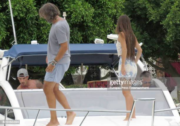 Aitor Ocio and his girlfriend Covadonga Riva is seen on August 1 2017 in Ibiza Spain