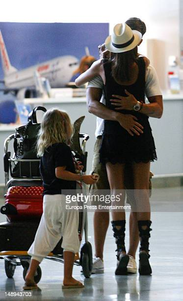 Aitor Ocio his girlfriend Barbara and his daughter Naia are seen on July 19 2012 in Ibiza Spain