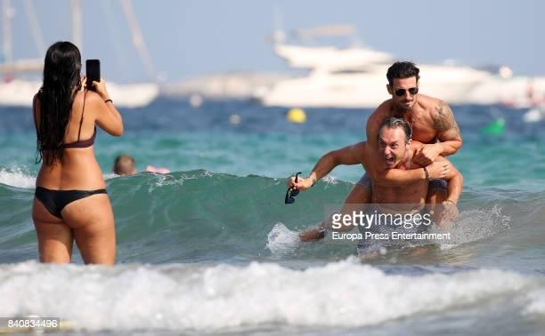 Aitor Ocio Israel Bayon and Cristina Sainz are seen on July 21 2017 in Ibiza Spain