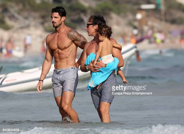 Aitor Ocio Israel Bayon and his daughter Daniela Bayon are seen on July 21 2017 in Ibiza Spain