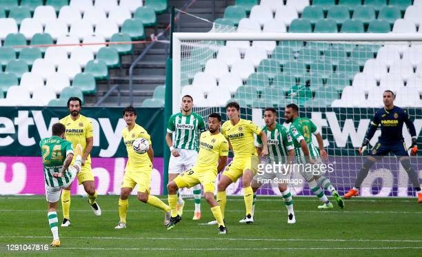 Aitor Ruibal of Real Betis scores their team's first goal during the La Liga Santander match between Real Betis and Villarreal CF at Estadio Benito...