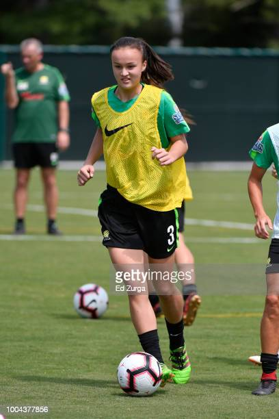 Aivi Luik of Australia controls the ball during a training session for an upcoming match in the Tournament of Nations at Swope Soccer Village on July...
