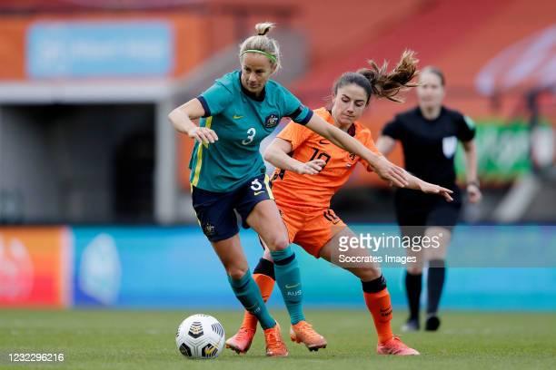 Aivi Luik of Australia Women, Danielle van de Donk of Holland Women during the International Friendly Women match between Holland v Australia at the...