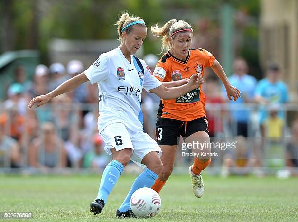 Aivi Luik of Melbourne City and Amy Chapman of the Roar compete for the ball during the round 11 WLeague match between Brisbane Roar and Melbourne...