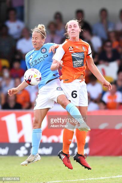 Aivi Luik of Melbourne City and Celeste Boureille of the Roar compete for the ball during the WLeague Semi Final match between the Brisbane Roar and...
