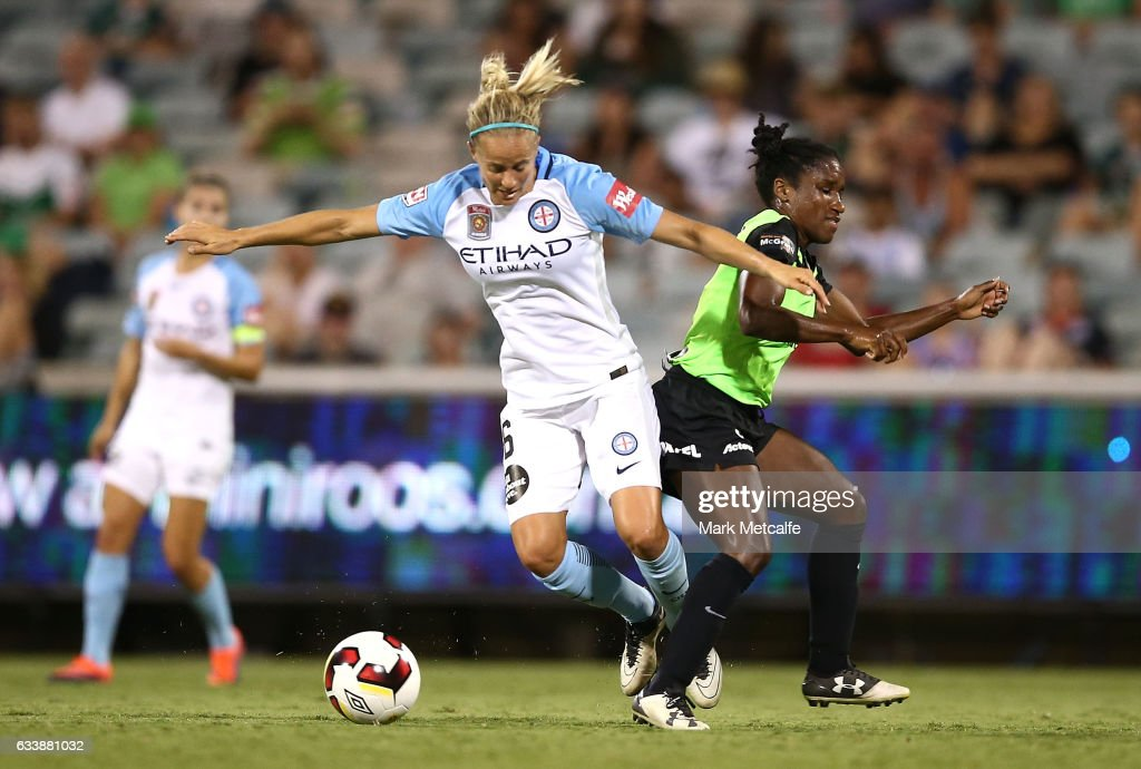 Aivi Luik of Melbourne City and Jasmyne Spencer of Canberra compete for the ball during the W-League Semi Final match between Canberra United and Melbourne City FC at GIO Stadium on February 5, 2017 in Canberra, Australia.
