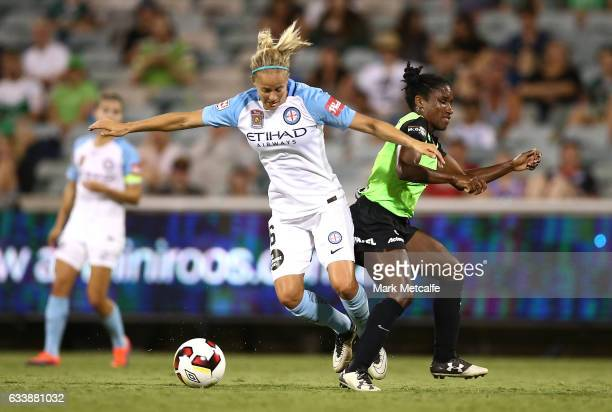 Aivi Luik of Melbourne City and Jasmyne Spencer of Canberra compete for the ball during the WLeague Semi Final match between Canberra United and...
