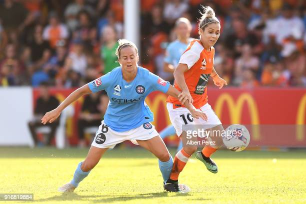 Aivi Luik of Melbourne City and Katrina Gorry of the Roar compete for the ball during the WLeague Semi Final match between the Brisbane Roar and...