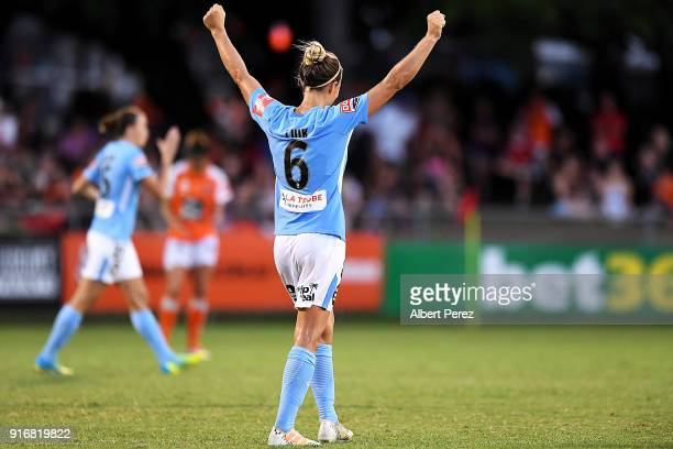 Aivi Luik of Melbourne City celebrates after the WLeague Semi Final match between the Brisbane Roar and Melbourne City at Perry Park on February 11...