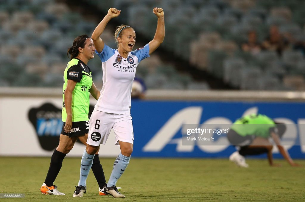 Aivi Luik of Melbourne City celebrates victory at the end of the W-League Semi Final match between Canberra United and Melbourne City FC at GIO Stadium on February 5, 2017 in Canberra, Australia.