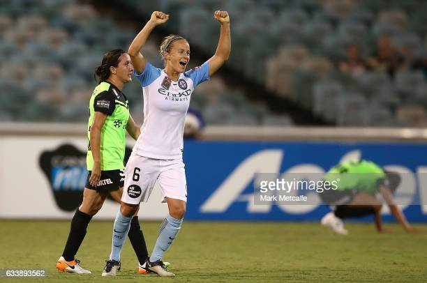Aivi Luik of Melbourne City celebrates victory at the end of the WLeague Semi Final match between Canberra United and Melbourne City FC at GIO...