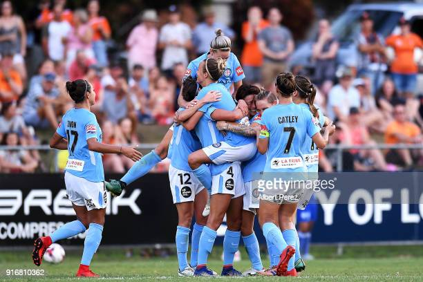 Aivi Luik of Melbourne City celebrates with team mates after scoring a goal during the WLeague Semi Final match between the Brisbane Roar and...