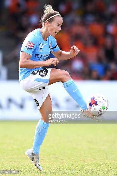 Aivi Luik of Melbourne City controls the ball during the WLeague Semi Final match between the Brisbane Roar and Melbourne City at Perry Park on...