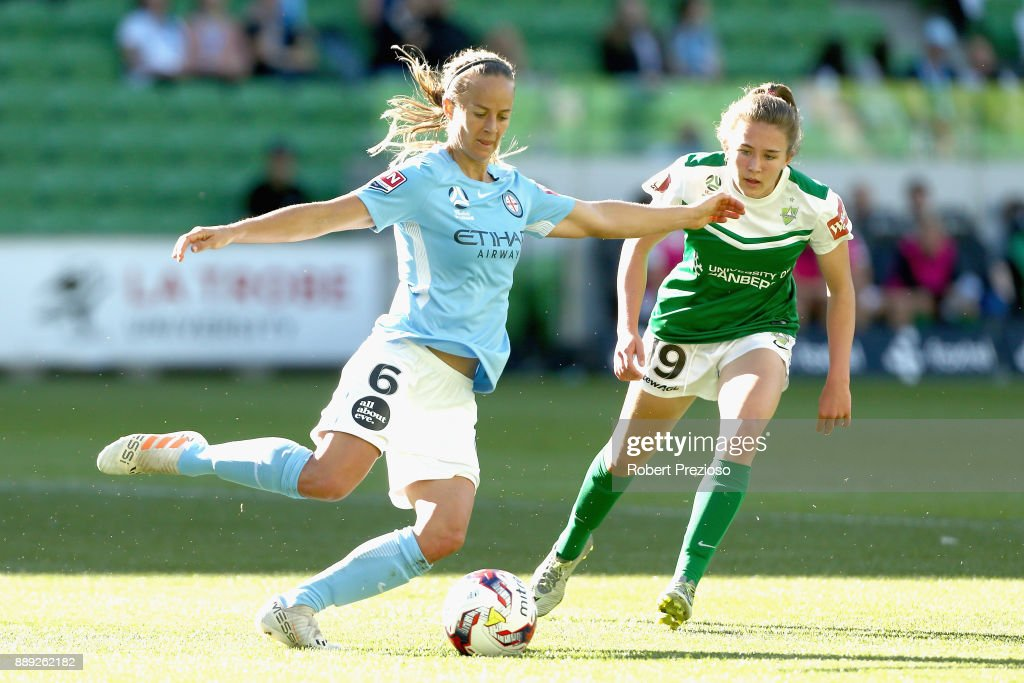 Aivi Luik of Melbourne City passes the ball during the round seven W-League match between Melbourne City and Canberra United at AAMI Park on December 10, 2017 in Melbourne, Australia.