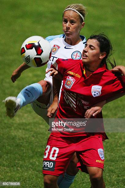 Aivi Luik of the City kicks the ball near the face of Alexandra Chidiac of United during the round 10 WLeague match between Melbourne City and...