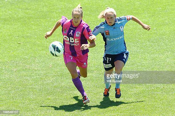 Aivi Luik of the Glory challenges Annalie Longo of Sydney during the round five WLeague match between the Perth Glory and Sydney FC at nib Stadium on...