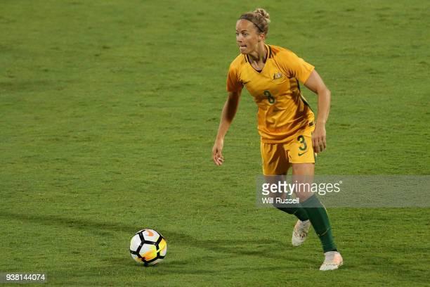 Aivi Luik of the Matildas looks to pass the ball during the International Friendly Match between the Australian Matildas and Thailand at NIB Stadium...