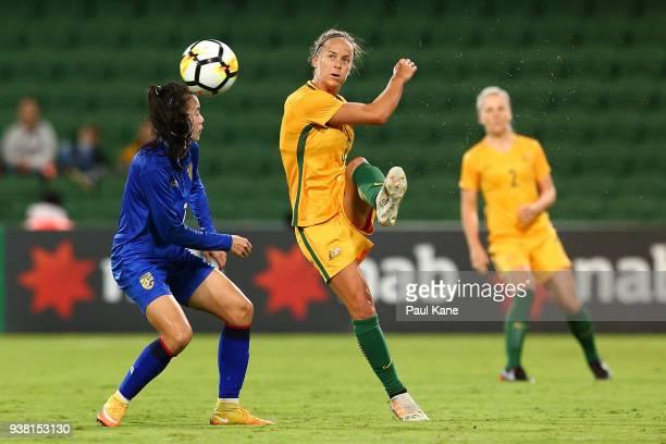 Aivi Luik of the Matildas passes the ball during the International Friendly Match between the Australian Matildas and Thailand at nib Stadium on...
