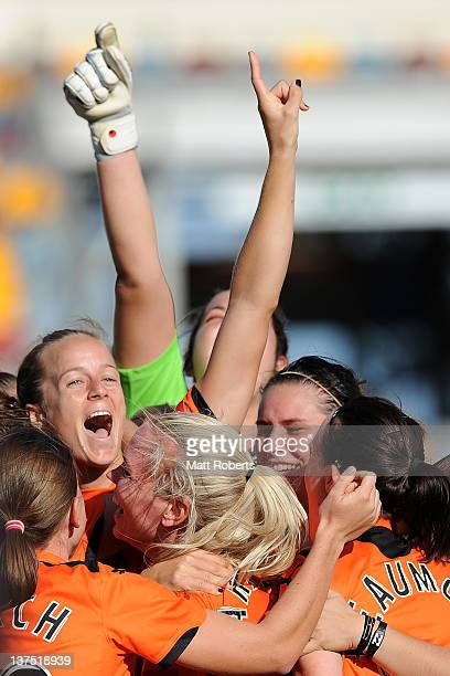 Aivi Luik of the Roar celebrates with teammates after the WLeague Semi Final match between the Brisbane Roar and Sydney FC at Queensland Sport and...