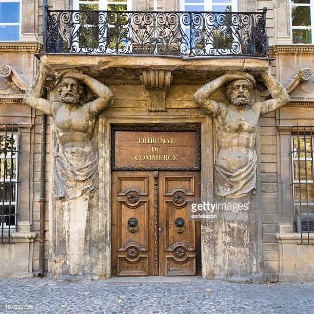 aix: doorway with caryatids - aix en provence stock pictures, royalty-free photos & images