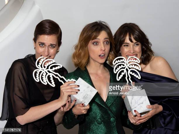 Aixa Villagran, Leticia Dolera and Celia Freijeiro pose after they won the Special Performance award for the TV series 'Perfect Life' during the 2nd...