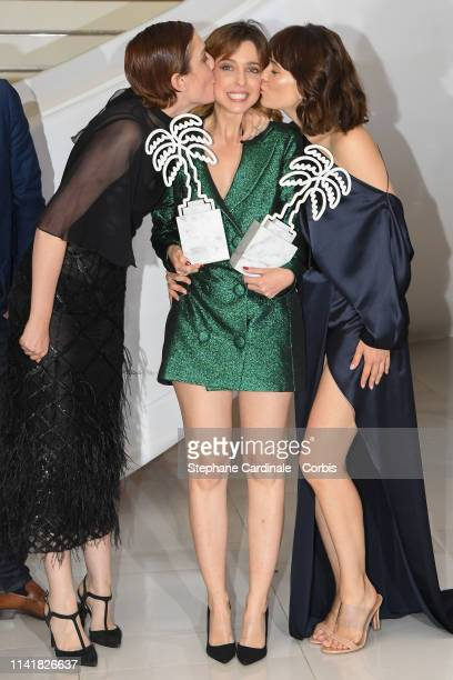 Aixa Villagran, Leticia Dolera and Celia Freijeiro pose after they won the the Best Series award and Special Performance award for the TV series...