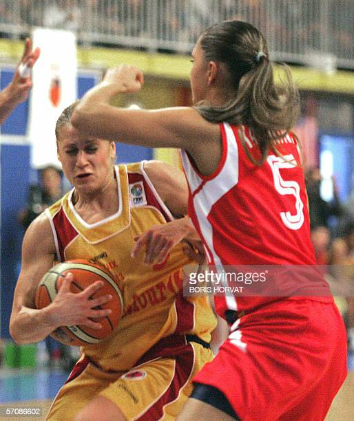 Aix basket player Anastasia Kostaki vies with Spartak Moscow Marina Karpunina during their Basket Eurocup final in AixenProvence southen France 14...