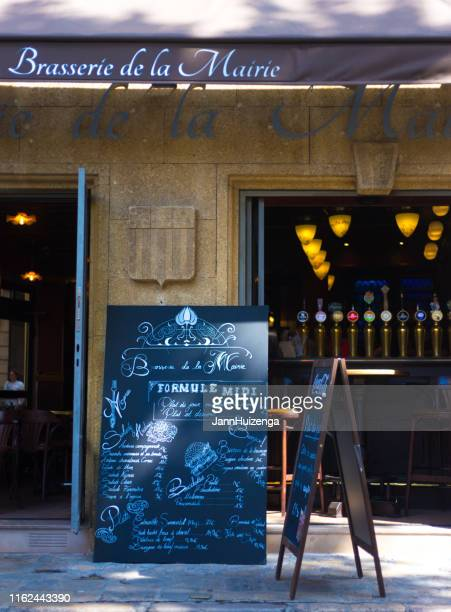 aix-en-provence, france: brasserie with blackboard menu outside - aix en provence stock pictures, royalty-free photos & images