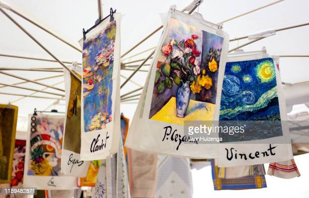 aix-en-provence, france: cezanne and van gogh towels for sale - paul cezanne stock photos and pictures