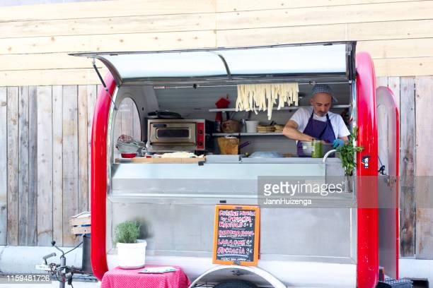 aix-en-provence, france: pasta vendor/food truck at market - pop up store stock pictures, royalty-free photos & images