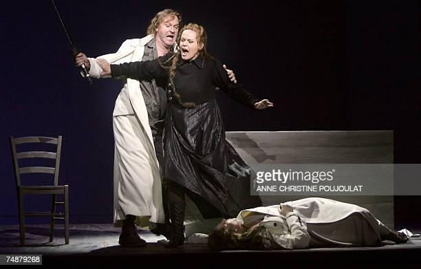 Robert Gambill Eva Johansson and EvaMaria Westbroek play Siegmund Brnnhilde et Sieglinde during a rehearsal of Richard Wagner's Opera 'The Valkyrie '...