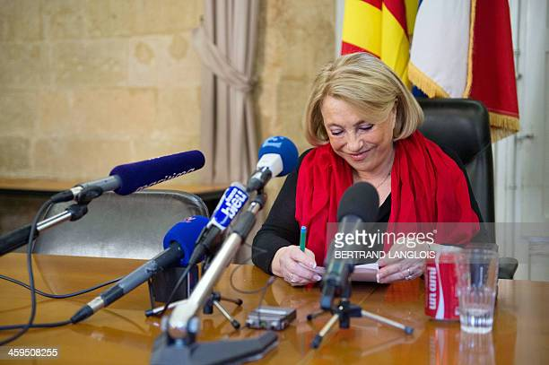 AixenProvence UMP mayor Maryse JoissainsMasini candidate for her own succession for the 2014 municipal elections prepares a press conference at the...
