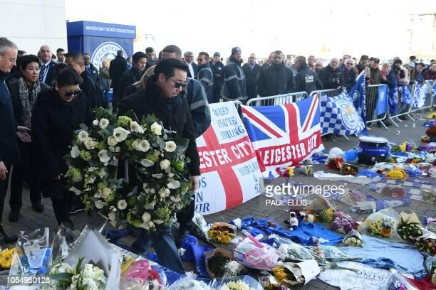 Aiyawatt Srivaddhanaprabha and Aimon Srivaddhanaprabha the son and wife of Leicester City's Thai chairman Vichai Srivaddhanaprabha who died in a...