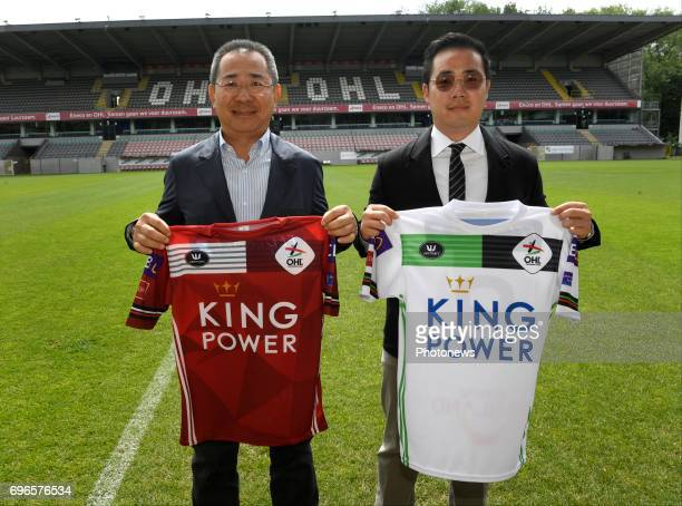 Aiyawatt Srivaddhanaprabha and his father Vichai pictured during press conference of King Power owner of OHL for the new season of Proximus League of...