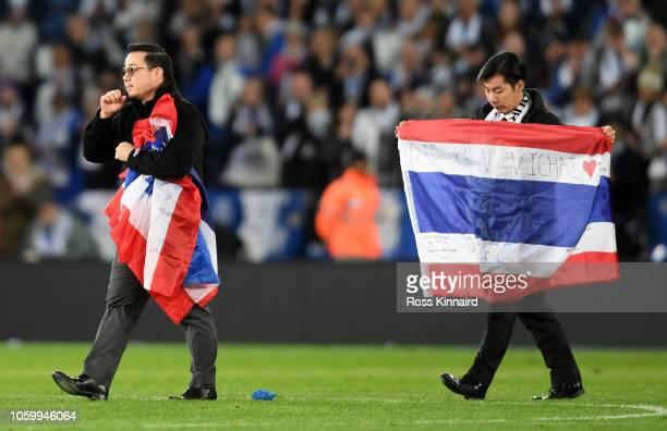 Aiyawatt Srivaddhanaprabha son of Leicester City chairman Vichai Srivaddhanaprabha shows appreciation to the fans after the Premier League match...