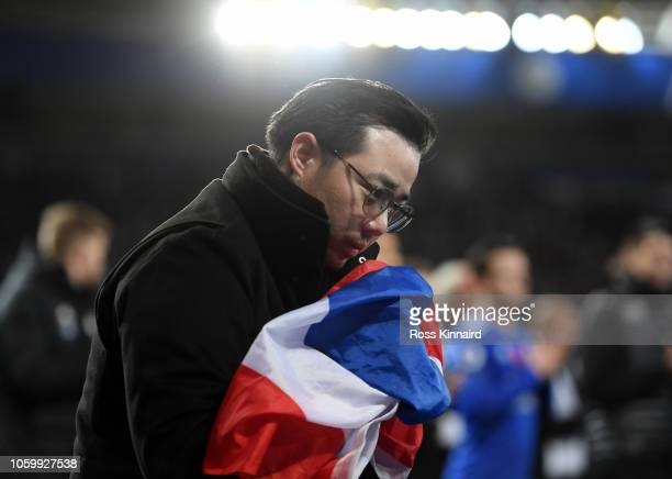 Aiyawatt Srivaddhanaprabha son of Leicester City chairman Vichai Srivaddhanaprabha reacts to the fans after the Premier League match between...