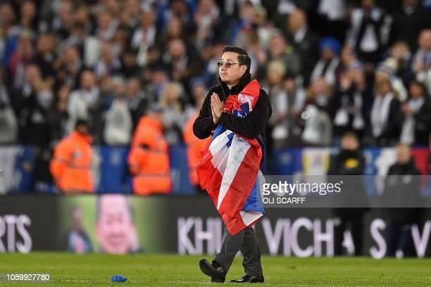 Aiyawatt Srivaddhanaprabha the son of Leicester City's late Thai chairman Vichai Srivaddhanaprabha applauds the fans following the English Premier...