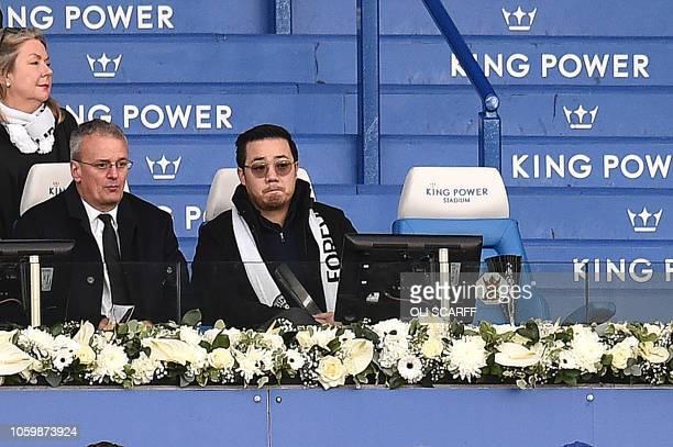 Aiyawatt Srivaddhanaprabha the son of Leicester City's Thai chairman Vichai Srivaddhanaprabha watvhes play during the English Premier League football...