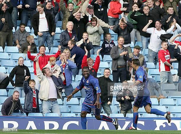 Aiyegbeni Yakubu of Middlesbrough celebrates scoring during the Barclays Premiership match between Aston Villa and Middlesbrough at Villa Park on...