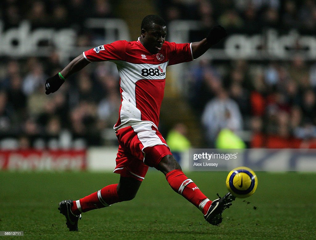 Aiyegbeni Yakubu of Middlesbrough in action during the Barclays Premiership match between Newcastle United and Middlesbrough at St James' Park on January 2, 2006 in Newcastle, England.