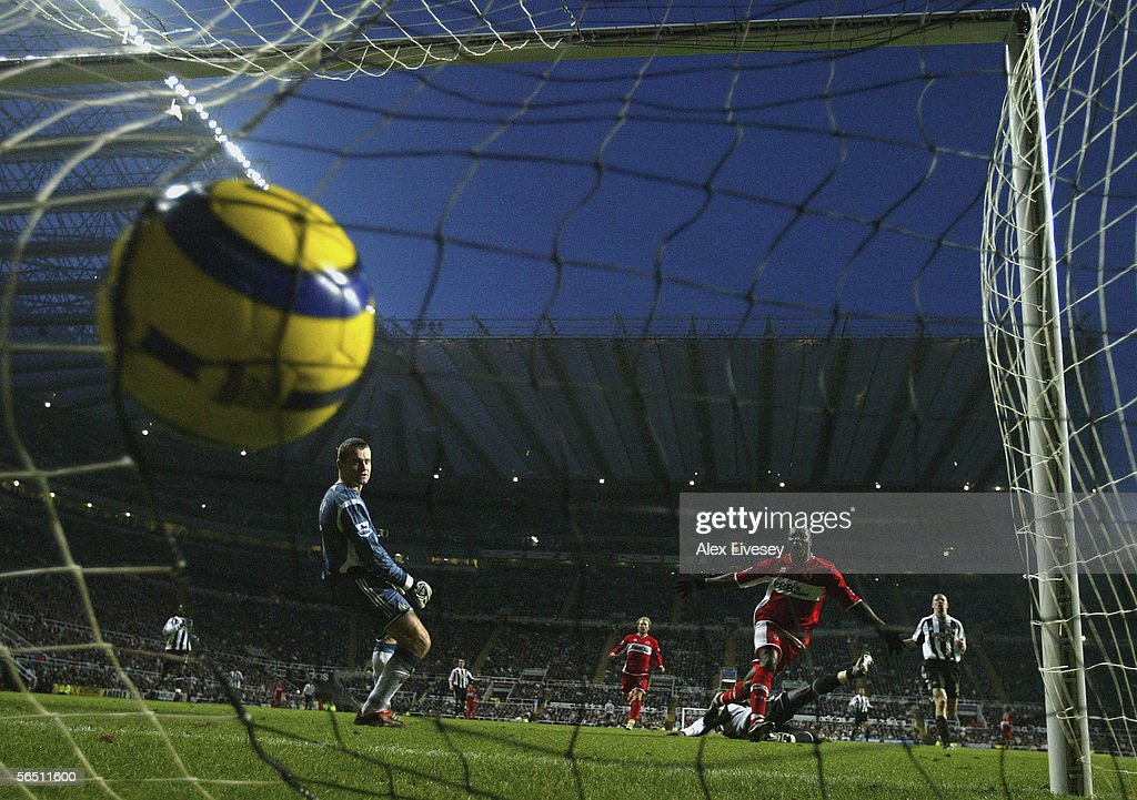 Aiyegbeni Yakubu of Middlesbrough scores his goal past Shay Given of Newcastle United during the Barclays Premiership match between Newcastle United and Middlesbrough at St James' Park on January 2, 2006 in Newcastle, England.