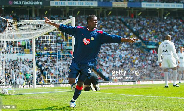 Aiyegbeni Yakubu of Portsmouth celebrates scoring the first goal during the FA Barclaycard Premiership match between Leeds United and Portsmouth at...