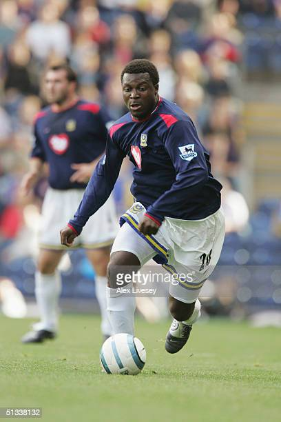 Aiyegbeni Yakubu of Portsmouth runs with the ball during the Barclays Premiership match between Blackburn Rovers and Portsmouth at Ewood Park on...