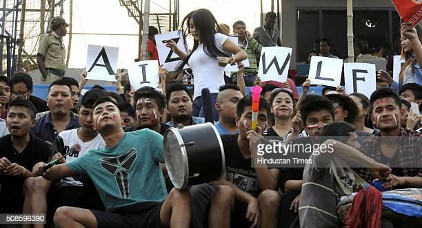 Aizawl FC supporters shouting for their team during the I League match against East Bengal at Barasat Stadium on February 5 2016 in Kolkata India