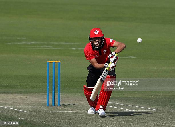 Aizaz Khan of Hong Kong bats during the Desert T20 Challenge match between at Hong Kong and Oman at Sheikh Zayed Stadium on January 16 2017 in Abu...