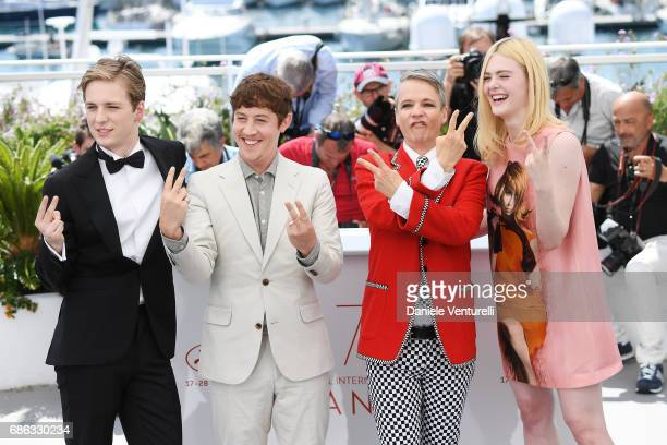 Aj Lewis Alex Sharp John Cameron Mitchell and Elle Fanning attend the 'How To Talk To Girls At Parties' photocall during the 70th annual Cannes Film...